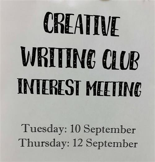 Creative Writing Club flyer