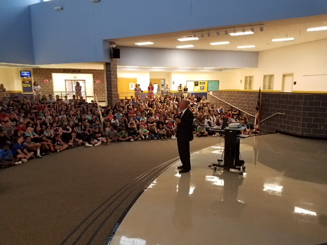 Assistant Superintendent, Mark Strickland, Speaks to Eighth Grade Cavalier Students About Energy Conservation