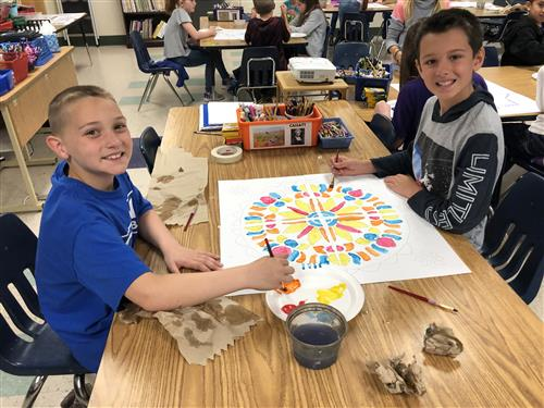 Third and fourth graders are making connections with mandalas and math in art classes!