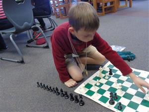 Chess player in action
