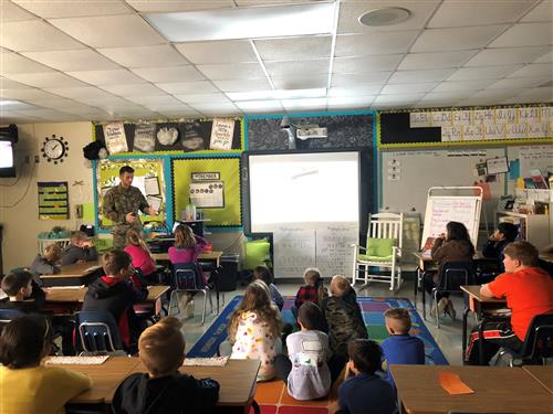 Tyler Madanski spoke to Mrs. Taylor's class about being in the Air Force