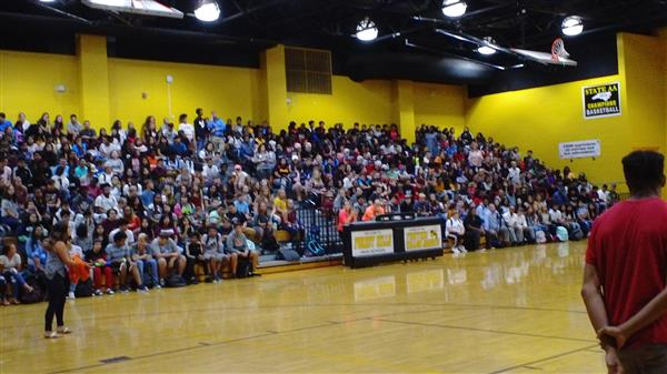Forest Hills students attend rally in gym.