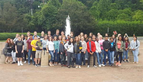 World History classes from FHHS in front of the fountain at Mint Museum, Randolph, in Charlotte.