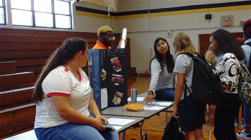 Students check out the Student Council booth at the Interactive Club Fair