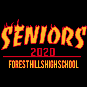 Senior t-shirt design. Yellow capital letters outlined in flames spell Seniors, 2020 in red, school name in yellow beneath