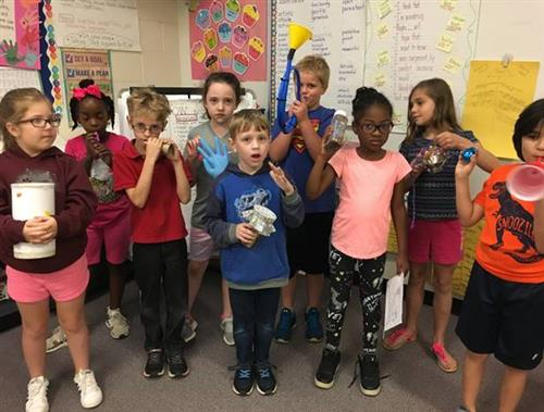 Second graders created kazoos and their own wind, string, or percussion instrument.