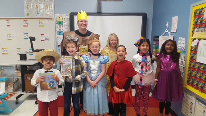 Second grade students dressed as their favorite fairy tale or fable character.