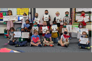 Mrs. Flores' kindergarten class learns about Veteran's Day