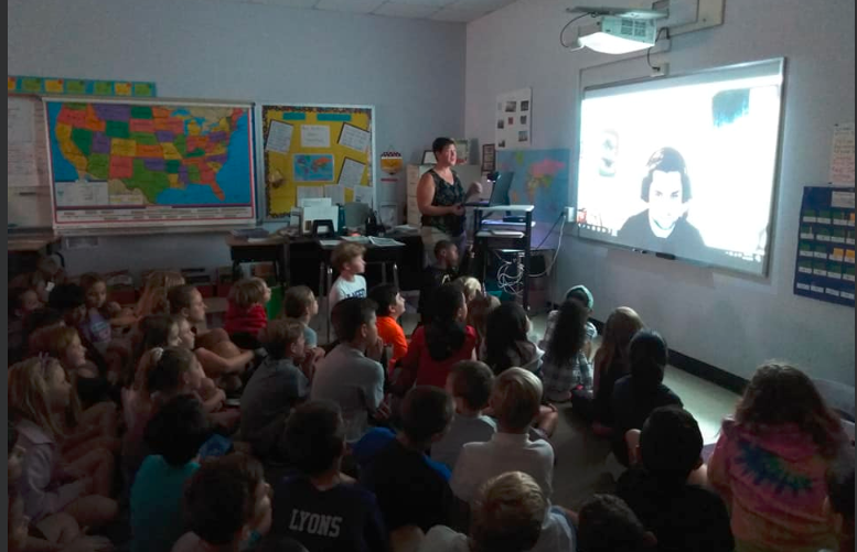 Mrs. Smith's 3rd grade class learns about weather maps and hurricanes from a meteorologist.