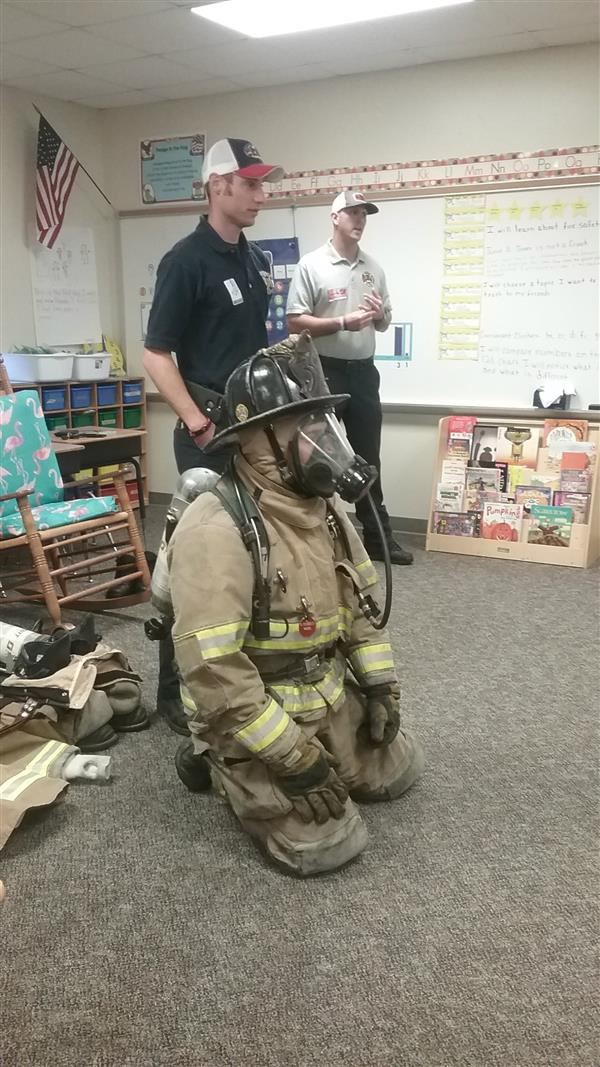 First Graders Visit with Charlotte Firefighters