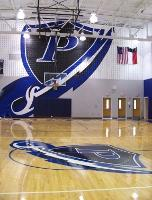 Photo of new gym basketball goal