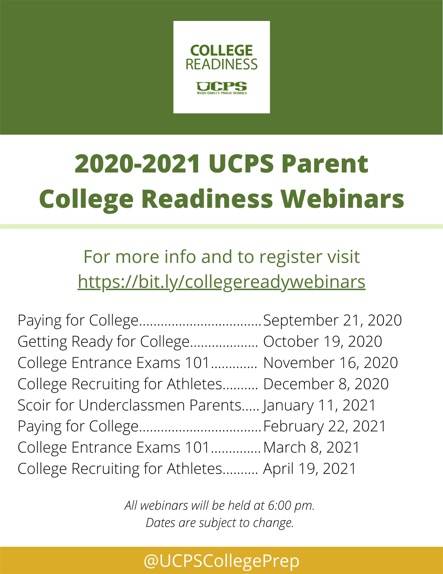 2020-2021 Parent College Readiness Webinar Series