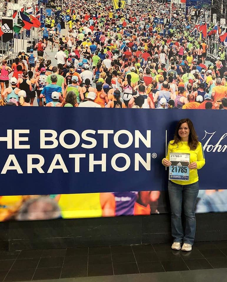 Vanessa Falbo runs in Boston Marathon.