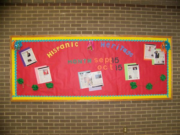 Bulletin board display for Hispanic Heritage Month