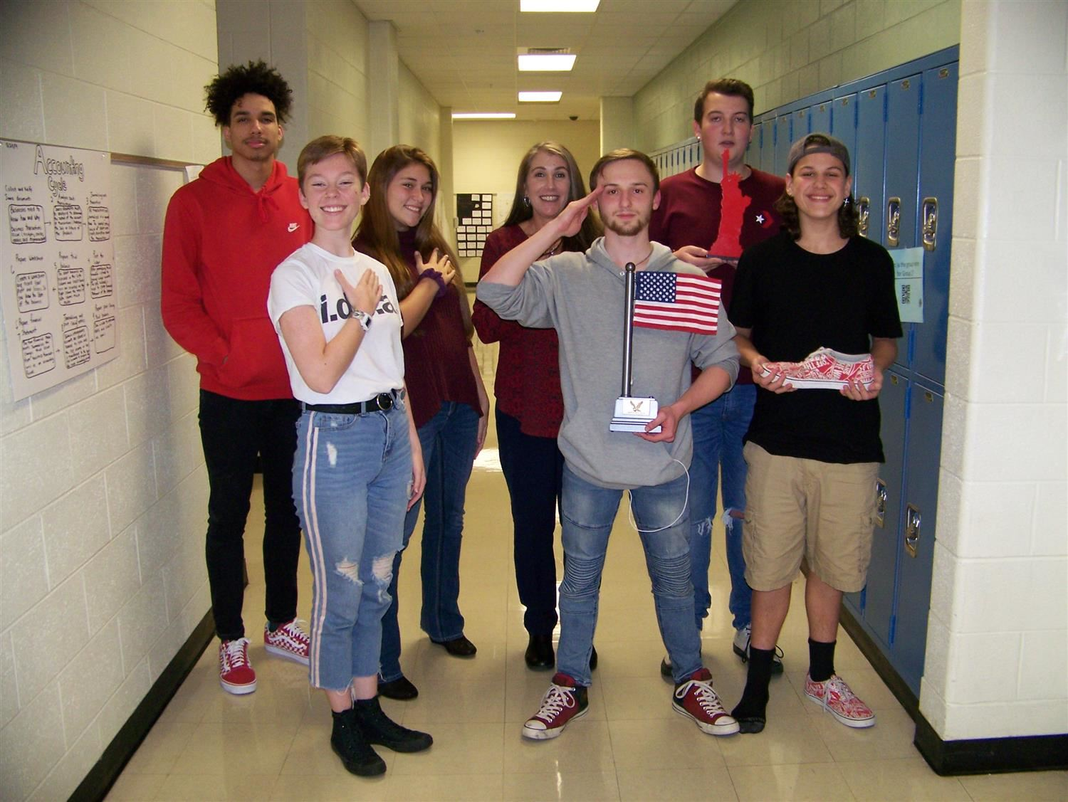 Students wear red, white and blue to honor veterans.