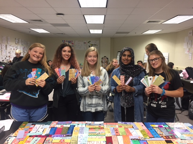 Club members make bookmarks for Sardis Elementary School.