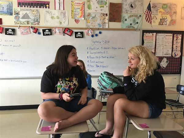 Seniors Shelby Cooper and Lauren Rogers discuss their ideas.