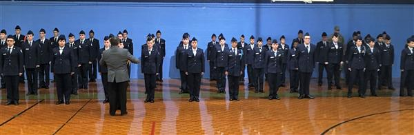 Cadets line up for inspection