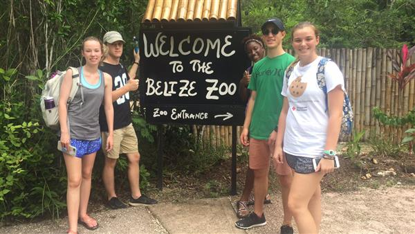 Students visit the Belize Zoo.