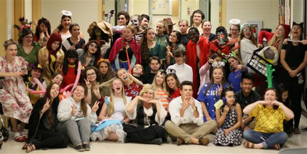 NAHS Members dressed in costumes for Edible Art Night