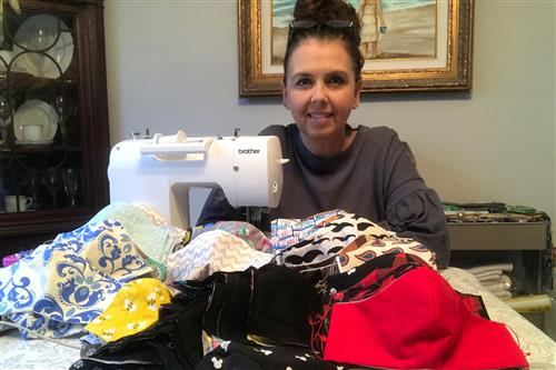 Porter Ridge Middle teacher Celeste Myers sews and donates hundreds of protective face masks