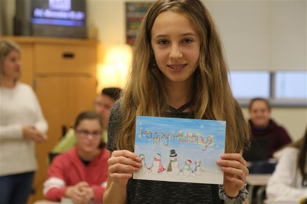 Porter Ridge Middle student Ashley Cole wins UCPS Holiday Card Contest
