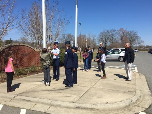 ROTC Cadets School Sardis Students on Flag Etiquette
