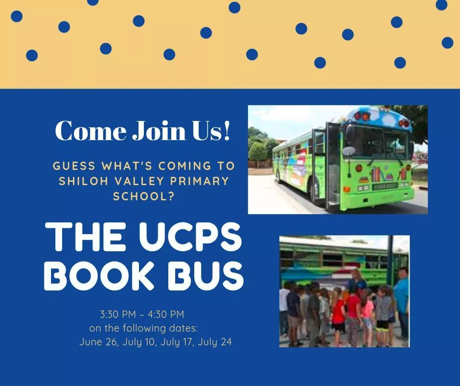 Shiloh Valley families: The Book Bus is coming to Shiloh Valley Primary School this summer!