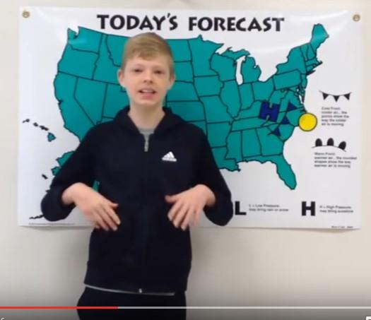 Weatherman Kevin shares that recess is going to be nice and sunny!