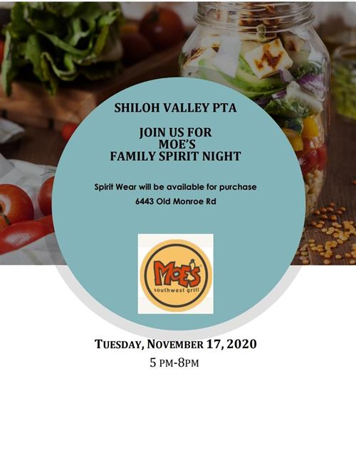 Moe's Family Spirit Night 11/17