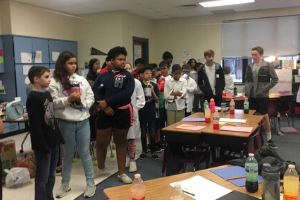 SVMS Beta Students work with Shiloh Valley Elementary students on science experiments