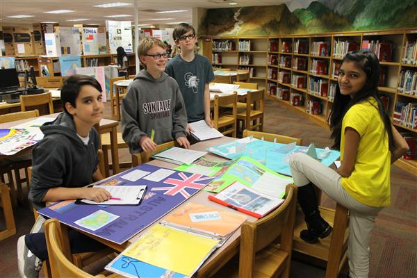 Students examine some of the Global Walk Projects