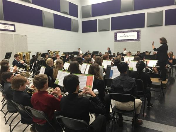 Students giving concert at South Central Honors Band