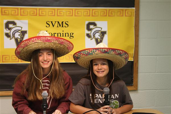 Students with sombreros on the morning announcements