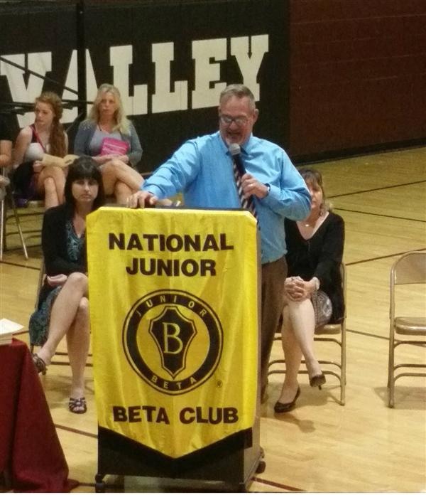 A. P. John Grexa gives induction speech for Beta Club