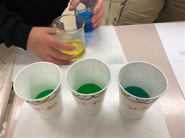 Beakers of green liquid