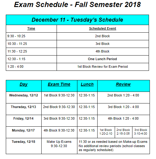 Fall 2018 UCEC Exam Schedule