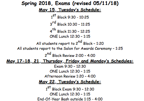 Revised Exam Schedule due to May 16th now being an optional teacher workday and students do not have school
