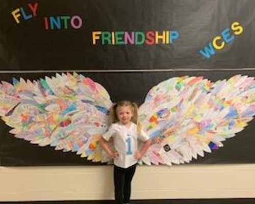 Students created a feather that eventually turned into our large Eagle Wings!