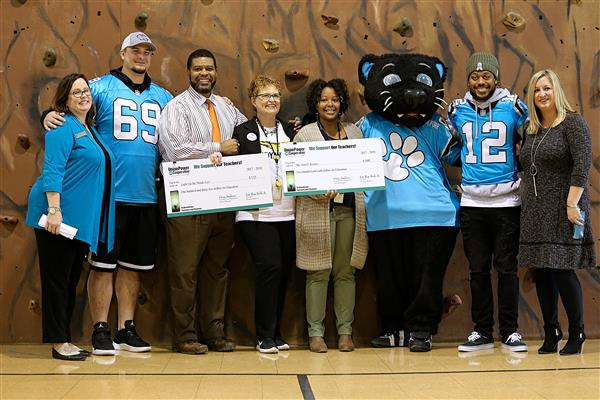 Carolina Panthers and Union Power Cooperative surprise Wingate Elementary teachers with grants