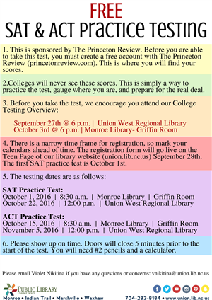 Free SAT & ACT Practice Testing flyer