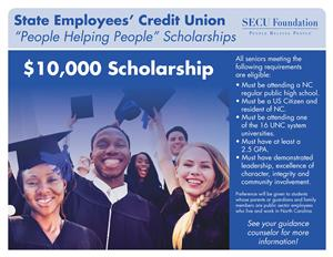 Flyer promoting the State Employees' Credit Union Scholarships